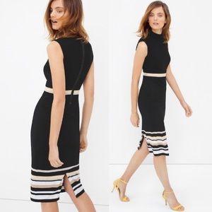 WHBM   Mock Neck Stripe Sheath Dress Stretch 12